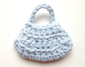 Handmade Barbie Clothes Purse Handbag Crochet Pale Denim (Q1925)
