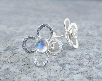 Rainbow Moonstone Sterling Silver Flower Stud Earrings - MINI FLOWERS - Handmade Metalwork Gemstone Jewelry