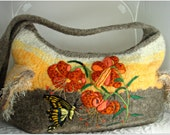 Felted Purse, Felted Handbag, Felted Tote, Tiger Lilies, Butterfly,Needle Felt Flower, FREE SHIPPING