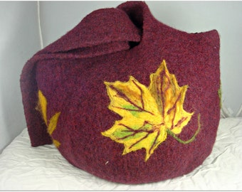 SALE-Felted Purse, Felted Handbag, Felted Bag, Autumn Leaves