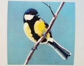bird print- art print- wall art- wall decor- home decor art print - yellow - blue