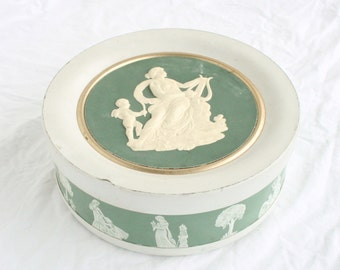 Large Green Greek Muse Tin 1960s Vintage Erato Chalk Green Goddess of Lyric Love Poetry