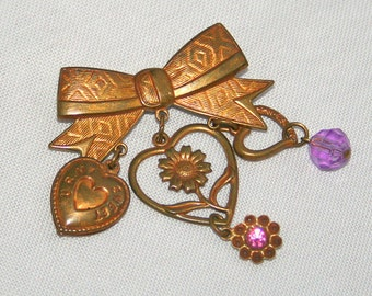 Antiqued Brass Dangles Brooch Vintage Heart Shaped Dangles Purple Crystal Pink Rhinestone Bow Pin