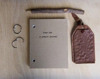 Dear God...A prayer journal-Journal Binder/Natural Kraft Hardcover Notebook/approx 4.25 x 5.5/50 Pages/Rustic/Inspirational Gift