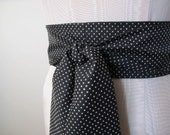 Polka Dot Obi Belt Black and White Dotted Swiss Cotton Vintage Fabric - made to order