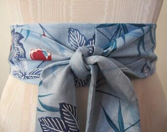 Blue Obi Belt Cotton Sateen Obi Sash - limited
