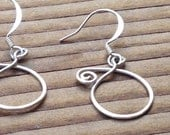 Simple, Light and Small Silver Dangle Earrings, Free Shipping