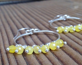 Silver Hoop Dangle Earrings with little Yellow dangles, free shipping