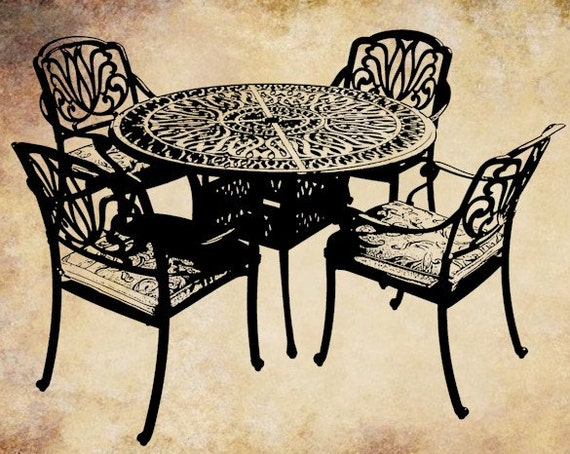 fancy patio furniture set black clip art by DigitalGraphicsShop