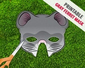 Gray Ferret Mask | Gray Weasel Mask | Printable Mask | Photo Booth Prop