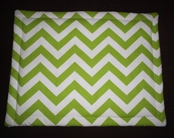 Set of 2 Green and White Chevron Placemats and 2 Red and White Chevron Placemats