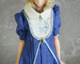 jiajiadoll - hand embroider moon and stars blue dress fit momoko or misaki or blythe dorandoran jerryberry azone