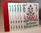 "6 pack German ""Merry Christmas"" letterpressed cards"