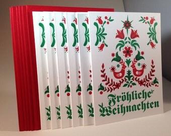 """6 pack German """"Merry Christmas"""" letterpressed cards"""
