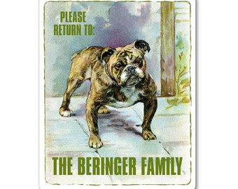 Personalized Bookplates - Vintage Lovable Bulldog - Hostess Gift, Present for Bull Dog Lover