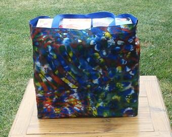 Royal Blue, Orange and Dark Green Patterned Batik Print Reusable Shopping Tote Bag