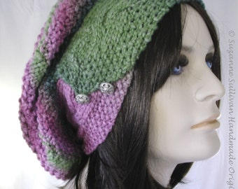 Slouchy Beanie with Cable Band, Knitted Slouchy Beanie, Knitted Multi Color Hat, Womans Slouchy Cap, Green and Pink Slouchy Beanie