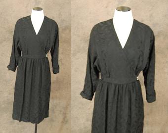 CLEARANCE SALE vintage 80s Silk Dress - 1980s Black Wrap Dress Sz S