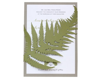 Fern Wedding Invitations - unique, cutout, natural wrap design with customizable colors