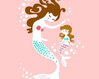 "8X10"" mermaid mother & daughter giclee art print on fine art paper. pink, teal blue, brunette."