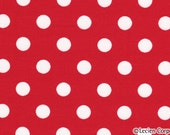 Japanese, Lecien, Color Basic, White Polka Dots on Red 4524 R - 1 Yard Sale (Last One)