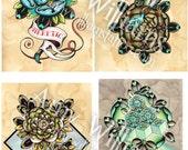 4 Geometric Tudor Rose Flowers Tattoo Art A4 Prints