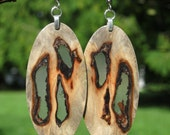 Super Awesome Swirly Burl Matches Any Outfit Grey California Buckeye Burl And Resin Wood Earrings
