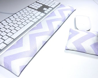 Computer Keyboard Wrist Rest and Optional Mouse Wrist Rest in Pastel Purple Chevron - Wrist Support