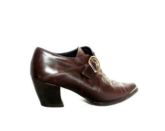 Vintage Italian Brown Leather  Booties