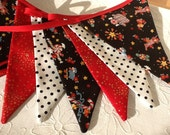 Christmas Bunting - 12 flag Fabric Garland Banner, Black, red and white bunting