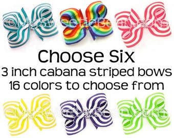 """3 inch Striped Bows for Toddlers, Striped Boutique Bows in 16 Colors, 3"""" Hair Bows for Girls, Cabana Stripe Bows Set of 6"""