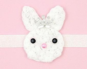 Shabby Bunny Headband, White Bunny, Tiara, Princess Bunny Headband for Girls, White Glitter Headband, Children Holiday, Spring Baby Toddlers