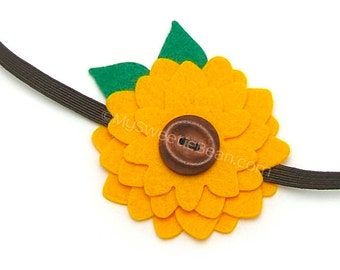 Sunflower Headband, Ready to Ship Baby Headband, Felt Sunflower, Girls Headband, Boho Headband, Woodland Headband, Golden Yellow, Brown