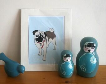 SALE! Pug Illustrated Art Print