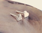 Tiny heart studs - post earrings - hearts - sterling silver
