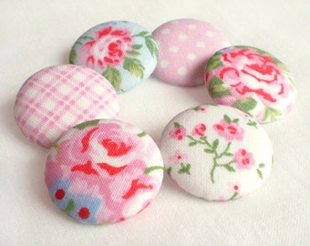 Fabric Buttons - Shabby Romantic Chic - 6 Medium Pink, Blue and White Floral and Gingham and Polka Dots Fabric Covered Buttons