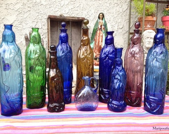 Collection of 10 Vintage/Antique VIRGIN DE GUADALUPE Holy Water Bottles- Souvenir from the Basilica