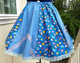 Vintage inspired Full circle Hello Kitty fabric print skirt with lace and bows