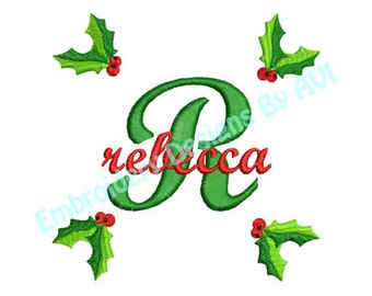 Christmas Holly II Embroidery Alphabet Monogram Fonts Designs Instant Download Sale 4x4 hoop