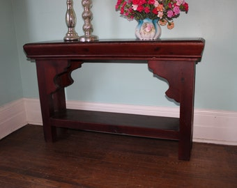 vintage Asian inspired sofa console table flat screen TV table handmade