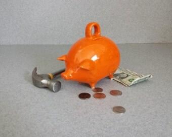 Ceramic Piggy Bank Break or shake No Stopper no eyes Tiger lily orange #032816
