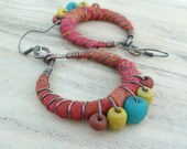 Boho Tribal Hoops - Silk Wrapped Hoop Dangles with Primitive Glass Beads, Colorful