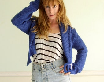 Wool Blended Bright Cobalt Blue Cropped Crop LS Italian Knit Sweater Cardigan - Vintage 90s - SMALL S