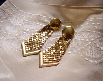 Brass Gold Tone MESH Disco 1970s 70s Dangle Earrings - Vintage