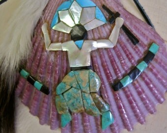 Life Force: Kachina Dancer Vintage Inlaid Pueblo Native American HOPI Style Design on Shell Turquoise Mother of Pearl Onyx Ermine Tail