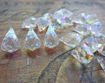 Faceted Teardrop Crystal AB Vintage (4)