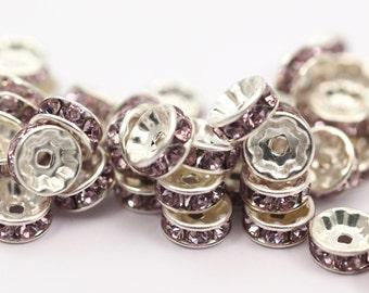 10 Violet Swarovski Rondelle Beads 8 Mm
