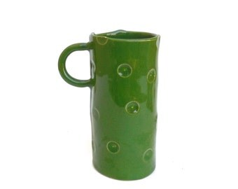 petite whimsical hand built green porcelain cup with dots
