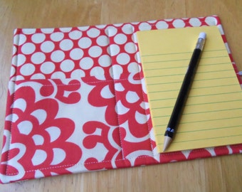 Mini List Taker, Organizer, Coupon Holder, Cherry Wall Flower by Amy Butler, Notepad And Pen\/Pencil Included