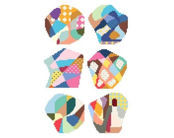 PDF pattern / needlepoint coaster set No.22